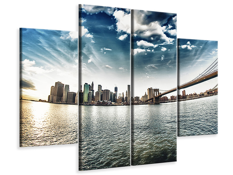 4 Piece Canvas Print Brooklyn Bridge From The Other Side