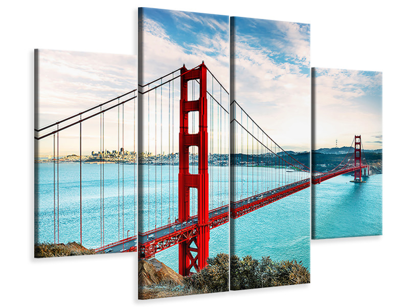 Tableau sur Toile en 4 parties Golden Gate Bridge