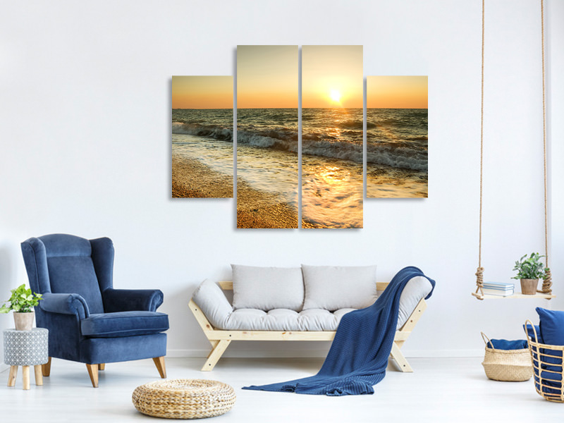 4 Piece Canvas Print Sunset At Sea
