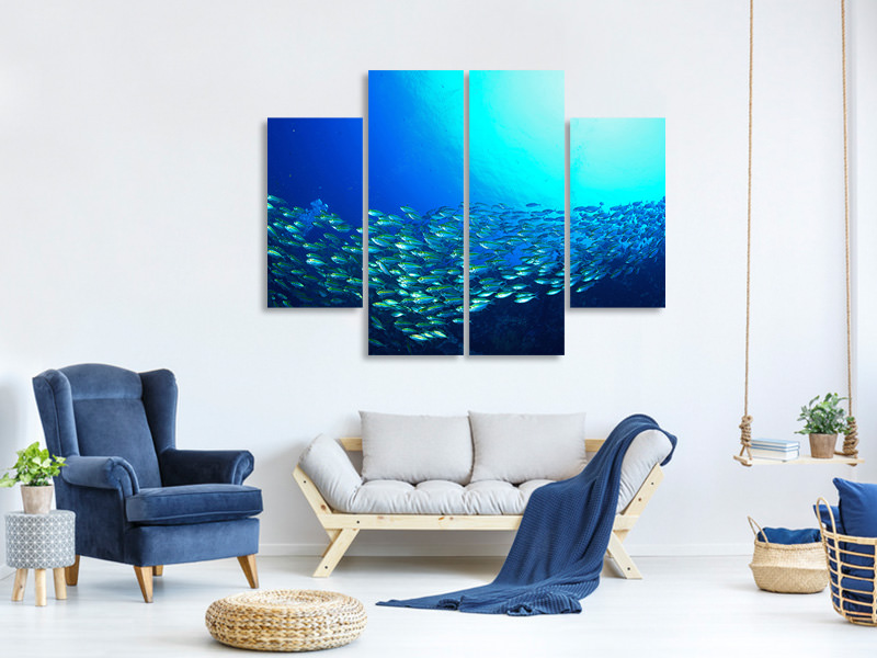 4 Piece Canvas Print Shoal Of Fish