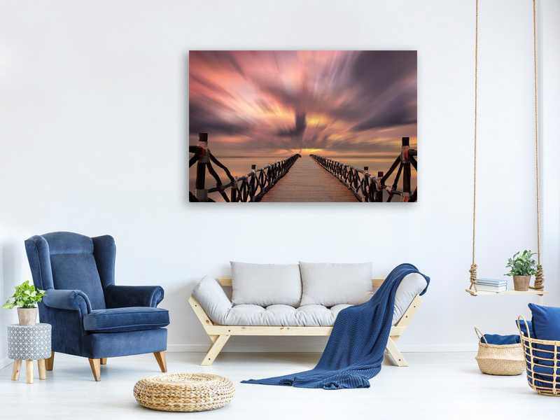Canvas print Spectacular sunset on the bridge