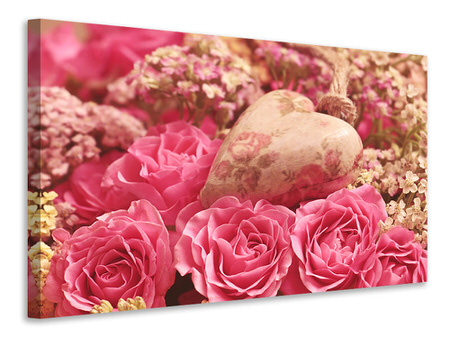 Canvas print Romantic roses with heart