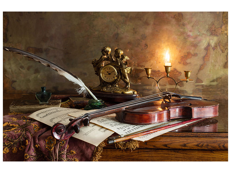 Tableau sur toile Still Life With Violin And Clock
