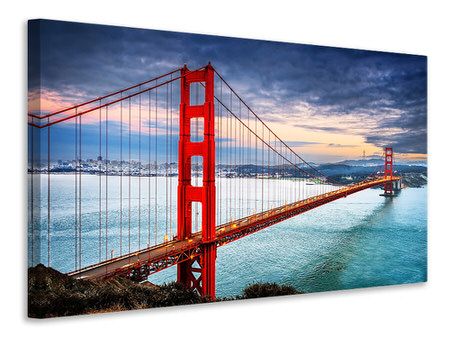 Stampa su tela Il Golden Gate Bridge al tramonto