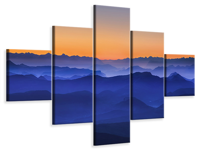 5 Piece Canvas Print Misty Mountains II