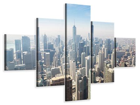 5 Piece Canvas Print Skyscraper Chicago