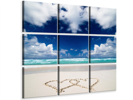 9 Piece Canvas Print Beach Love